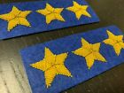 Civil War Confederate Gold Stars - ROYAL BLUE back - 3 Star COLONEL pair - NEW