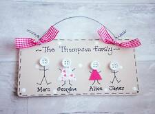 Personalised Family Sign Plaque ~ Stick People Button Face Names Present Gift