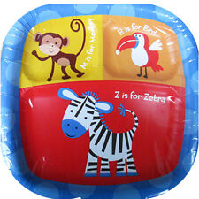 JUNGLE ANIMALS Safari Party LARGE PAPER POCKET PLATES (8) ~ Birthday Supplies