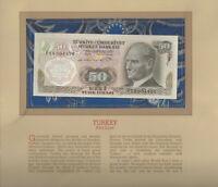 Most Treasured Banknotes Turkey 50 Lirasi 1970 UNC P 188a.1 UNC Low # 004434