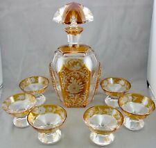 schöne Karaffe mit Gläser vermutl. Böhmen ca.50er Jahre