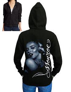 Junior's Marilyn Monroe Print Black Fleece Zipper Hoodie Biker Sexy Sweater