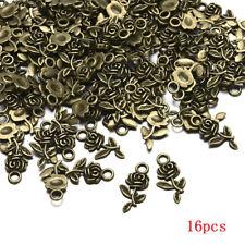 Lots 16pcs Tibetan Silver Rose Flower Charm Pendant Beads Jewelry Making DIY