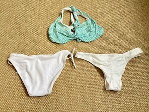 Two White Victoria's Secret Bikini Bottoms And Blue Green Pattern Bikini Top