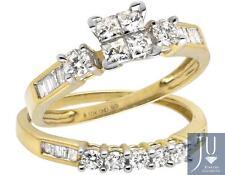10K Yellow Gold Invisible Set Princess Diamond Engagement Bridal Ring Set 0.90ct