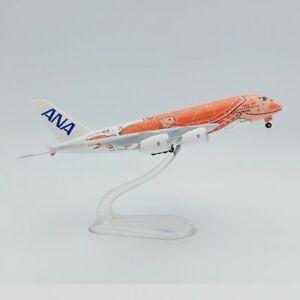 1:500 A380-841 ANA FLYING HONU JA383A Sunset orange A380 airplane model Plastic