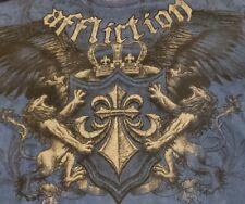 AFFLICTION Mens Size XXL 2XL Blue Graphic T-Shirt Factory Distressed Lions Crown