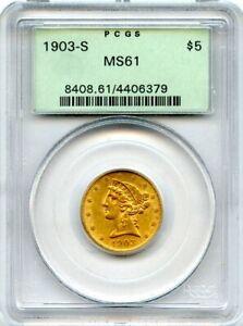 1903-S $5 Five Dollar Gold Liberty Head Coin Half Eagle PCGS MS 61