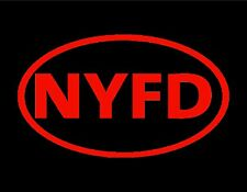 """NYFD VINYL WINDOW DECAL 3"""" X 5"""" NEW YORK FIRE DEPT. NYC NY 9/11 NEVER FORGET"""