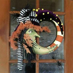 Halloween Witch Pumpkin Wreath Christmas Party Pendant Ghost-Face Door Hanger