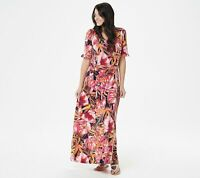 Susan Graver Regular Printed Liquid Knit Maxi Dress with Belt (Pink, S) A351035