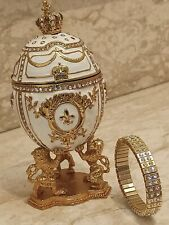 Faberge Egg Jewelry Box Imperial Lion 24k Gold Bracelet 4ct Swarovski Fabrege Hm