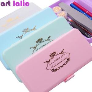 Nail Art Storage Box for Long Nail Tools Tweezers Cuticle Pusher Brush Pen Case