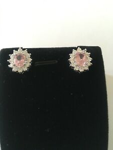 Natural Pink And White Topaz Earrings