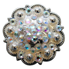C-TY32 SET OF 32 AB CRYSTALS ROUND CONCHOS RHINESTONE HEADSTALL SADDLE TACK COWG