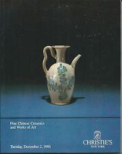 CHRISTIE'S CHINESE CERAMICS JADES BRONZES MIRRORS FURNITURE Catalog 1986