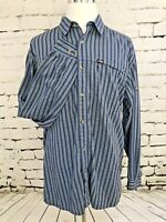 The North Face Mens Long Sleeve Button Front Shirt Blue Stripe Size XL  A26