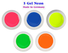5 GEL COLORATI NEON nail art Unghie RICOSTRUZIONE unghie Made in GERMANY fluo