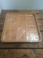 Vintage Bamboo Fruit Snack Tidbit Hors d'oeuvres Serving Tray Plastic Insert