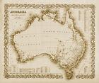"Vintage Old Map of Australia 1800's CANVAS PRINT 24""X18"""