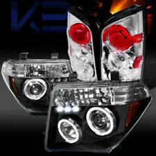 Fit 05-07 Nissan Pathfinder Black Halo LED Projector Headlights+Clear Tail Lamps