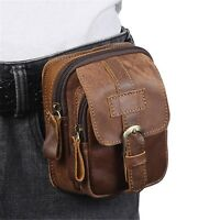 Men's Vintage Genuine Leather Brown Belt Small Waist Bag Mobile Phone Pouch New