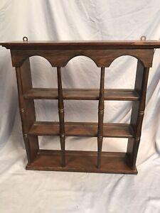 Vintage Wood Tea Cup / Saucer Display Wall Shelf Curio Shadow - Original Finish