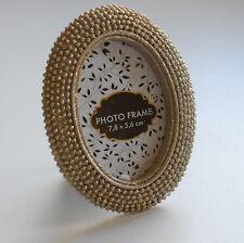 Dekorative Fotorahmen Bilderrahmen Rahmen goldfarbig glänzend oval 7,8 x 5,6 cm