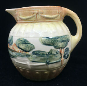 Majolica Antique Pitcher Yellow Green Trees Roseville Landscape Pre 1916