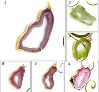 Natural Geode Druzy Pendant Gold Plated Fashion Charms Necklace Pendant Jewelry
