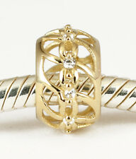 SOLID 9CT GOLD Elegant Little BEAD with 10pcs CZ For Charm Bracelet / Necklace