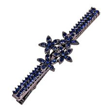 USA Hair Clip Claw using Swarovski Crystal Hairpin Vintage Flower Gray Blue