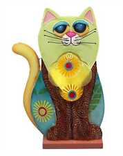 Large Funky Picasso Cat Novelty Table Lamp Capriz Shells & Metal