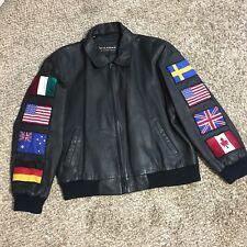 Vintage Wilson Big American International Flag Leather Biker Jacket Size XL