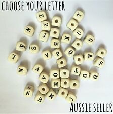 Choose letter wooden bead name personalise dummy chain clip garland beads baby