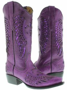 Women's Full Purple Flower Inlay Sequins Dress Leather Cowboy Boots Snip Toe