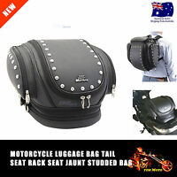 Motorcycle Leather Sissy Bar Bags Trunk Touring Pack Luggage Saddle Bag - Mustan