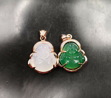 Green White Chalcedony Agate Gold Plated Cubic Zirconia Buddha Pendant Necklace