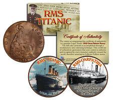 RMS TITANIC & RMS CARPATHIA 1912 Great Britain Pennies 2-Coin Set * Authentic *