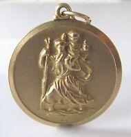 9ct Gold Pendant - Vintage 9ct Yellow Gold Embossed St. Christopher Pendant
