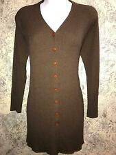 NORTON McNAUGHTON Petites button cardigan sweater petite L brown lightweight