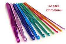 12x ALUMINIUM CROCHET SET Hooks Yarn Knitting Needles 2mm-8mm Stiching Sewing
