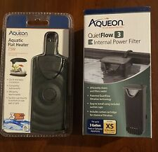 Aqueon Flat Heater 7.5 W & Quiet Flow 3 E Bundle NEW Factory Sealed