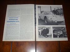 PORSCHE CARRERA GTL  - 1960 Original Vintage Article