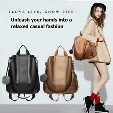 Solid Color Women Large Backpacks Anti-theft PU Leather Rucksack School Bags
