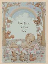 Cross stitch chart-Nuovo Bambino Nascita campionatore BABY SU COPERTA Flowerpower 37