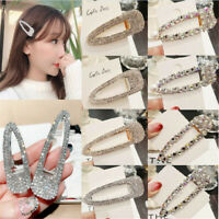 2019 Hot Women Crystal Hair Clip Snap Barrette Hairpin Bobby Hair Accessories