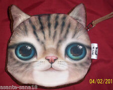 UK Sale: New Brown TABBY Blue Eyed KITTEN Tort Cat COIN PURSE, Fabric Lined Bag