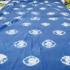 5 Yard Indian Hand-Dyed Cotton Shibori Fabric Bhandani Indigo Craft Sewing Cloth