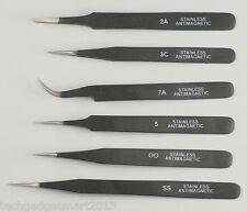 6 piece Epoxy coated tweezers set st36